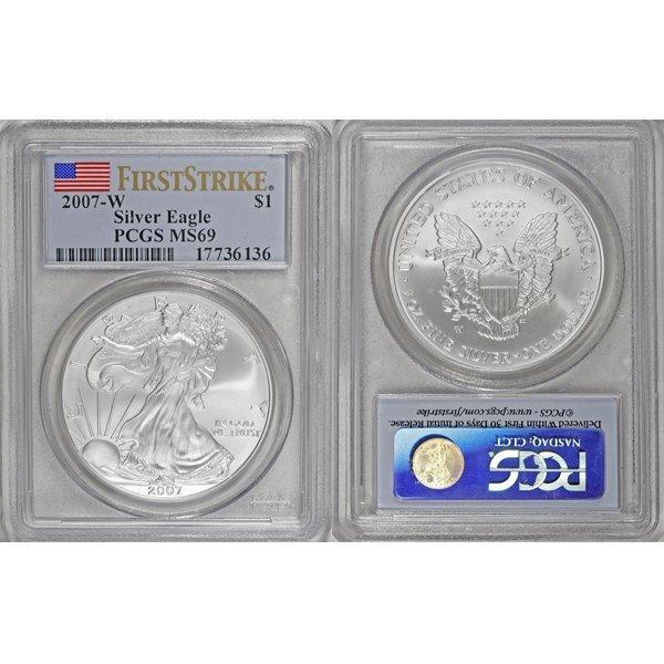 2007-W 1 Oz Burnished Silver Eagle MS69 PCGS FS