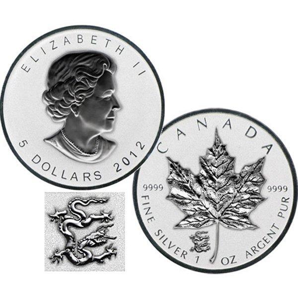 2012 $5 BU Silver Maple Leaf - Dragon Privy Mark
