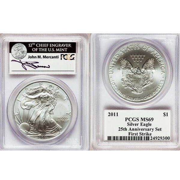 2011 $1 Silver Eagle 25th Ann. Autographed MS69 PCGS FS