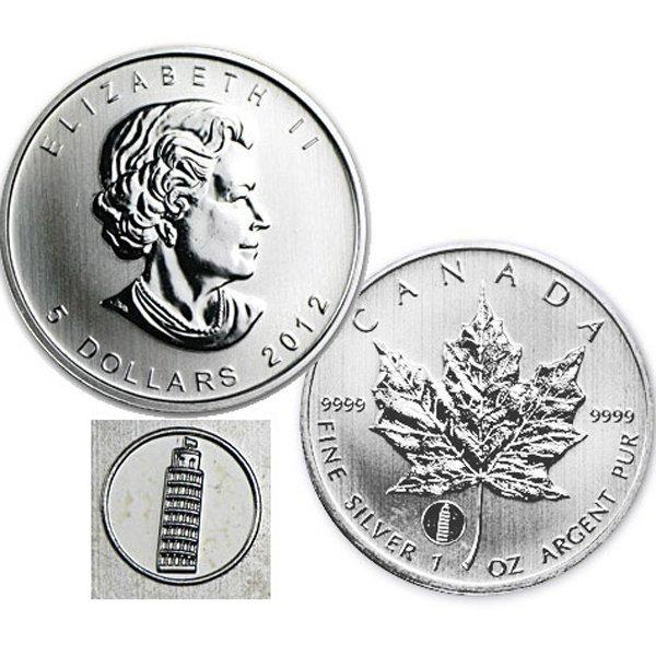 2012 1 Oz BU Silver Maple Leaf - Leaning Tower of Pisa