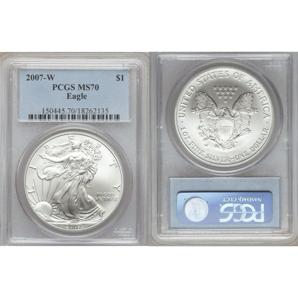 2007-W $1 Burnished Silver Eagle MS70 PCGS