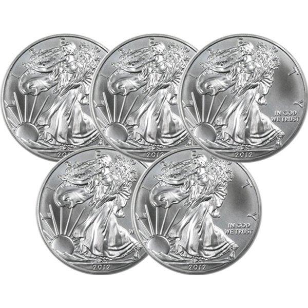 (5) BU Silver American Eagles - Random Dates!