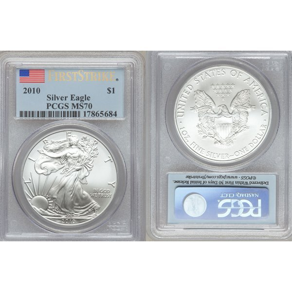 2010 $1 Silver Eagle First Strike MS70 PCGS