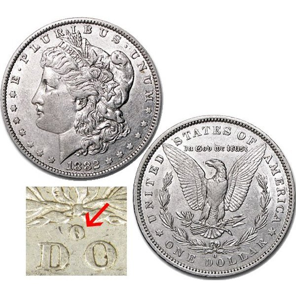 1882-O/S $1 AU Morgan Silver Dollar - O over S Top-100