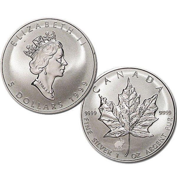1999 1 Oz BU Silver Maple Leaf Year of the Rabbit Mark