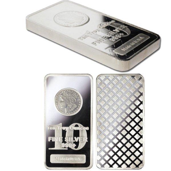 10 Oz Morgan Design Silver Bar .999 Fine