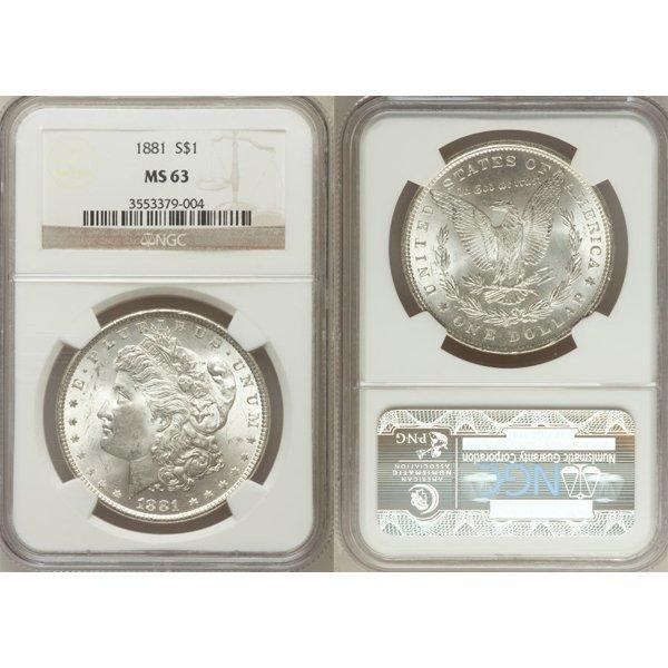 1881 $1 Morgan Silver Dollar MS63 NGC