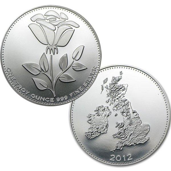 2012 1 Oz Silver English Rose Design Silver Round .999
