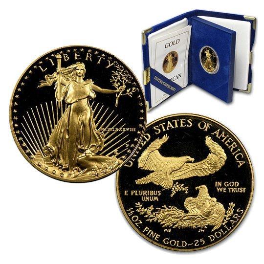 1988-P $25 1/2 Oz Proof Gold Eagle w/Box&CoA