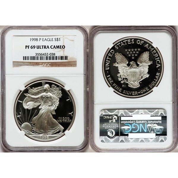 1998-P $1 1 Oz Proof Silver Eagle PF69 NGC