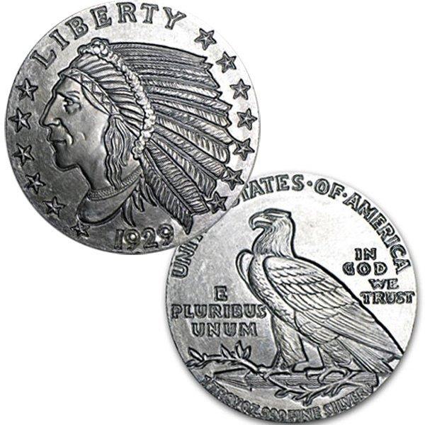 1 Oz Indian Half Eagle Design Silver Round .999 Fine