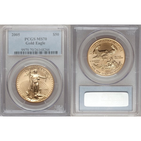2005 $50 1 Oz Gold American Eagle MS70 PCGS