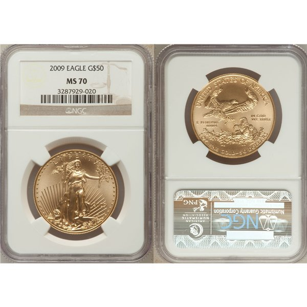 2009 $50 Gold American Eagle MS70 NGC