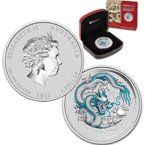 2012 1 Oz Silver White Dragon w/Box&CoA - Unique Item!