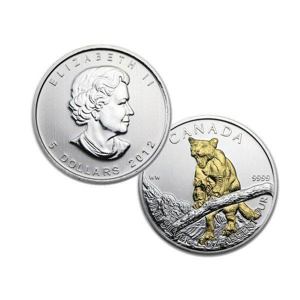 2012 1 Oz BU Canadian Silver Cougar - Gilded