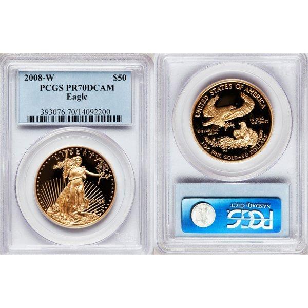 2008-W $50 1 Oz Proof Gold Eagle PR70 PCGS