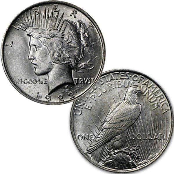 1922 $1 Peace Silver Dollar - Brilliant Uncirculated