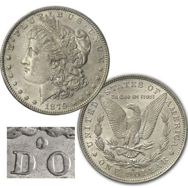 1879-O $1 AU Morgan Dollar - VAM-4 O over Horiz O