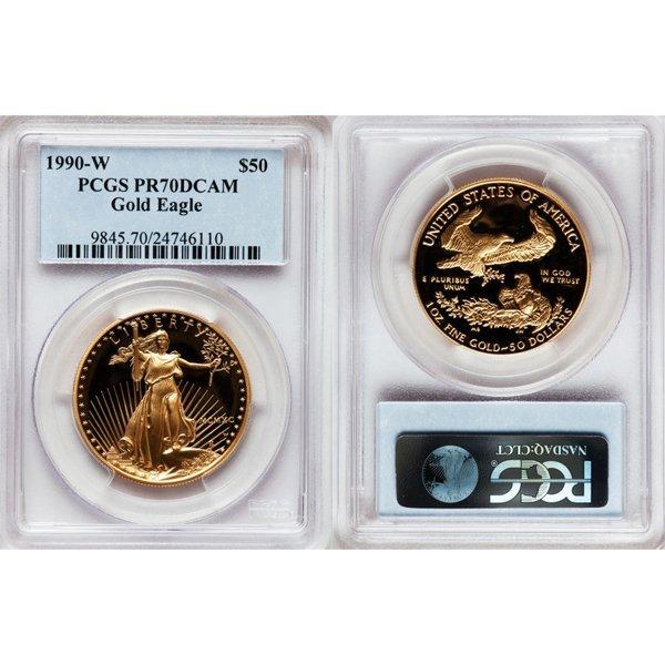1990-W $50 1 Oz Proof Gold Eagle PR70 PCGS