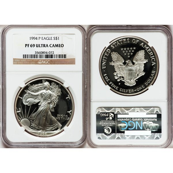 1994-P $1 1 Oz Proof Silver Eagle PF69 NGC