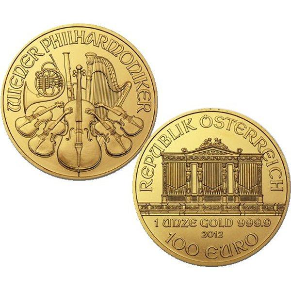 2012 1 Oz BU 24k Gold Austrian Vienna Philharmonic