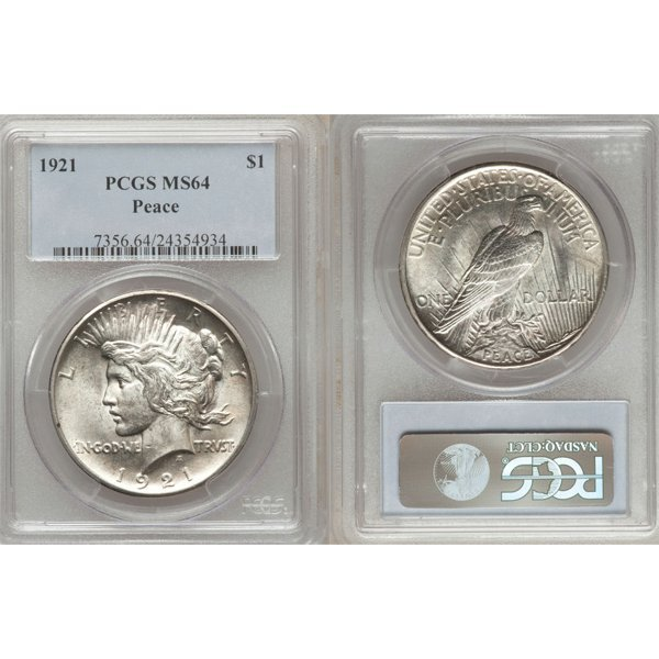 1921 $1 Peace Silver Dollar MS64 PCGS