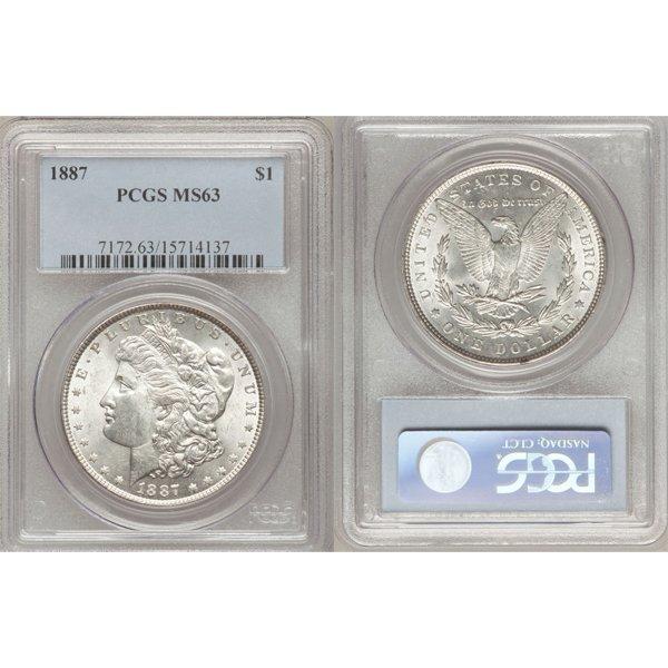 1887 $1 Morgan Silver Dollar MS63 PCGS