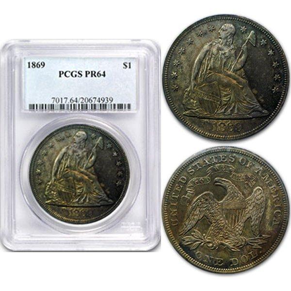 1869 Liberty Seated Proof Silver Dollar PR64 PCGS