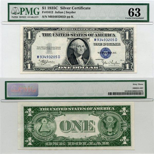 1935C $1 Silver Certificate Choice UNC 63 PMG