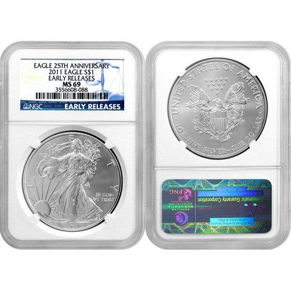 2011 1 Oz Silver Eagle 25th Ann ER MS69 NGC