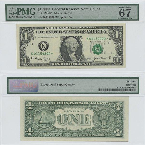 2003 $1 Star Note Dallas Gem UNC67 PMG