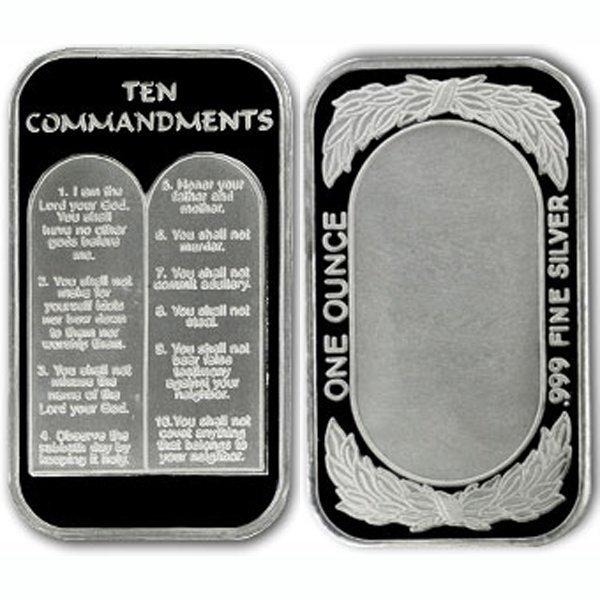 1 Oz Ten Commandments Design Silver Bar .999 Fine