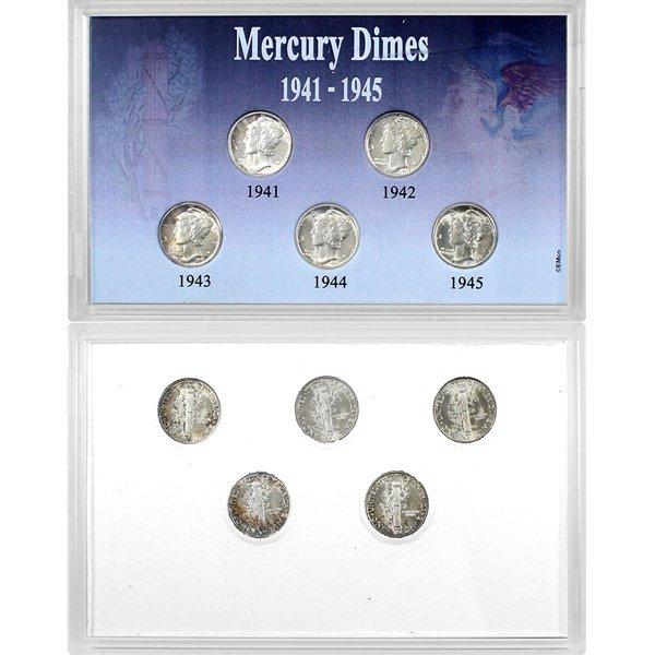 1941-1945 5-Coin Set Mercury Dime