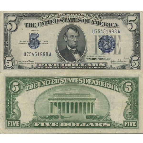 1934 $5 Silver Certificate Blue Seal Note