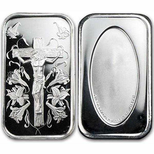 1 Oz Jesus Silver Design Bar .999 Fine - w/Gift Box & C
