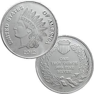 2012 1 Oz Indian Head Design Silver Round .999 Fine