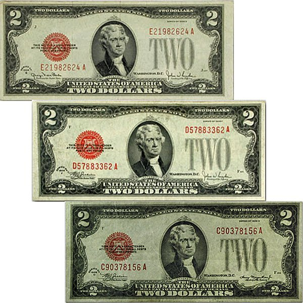 (3)1928-D F G $2 Bills - Red Seal