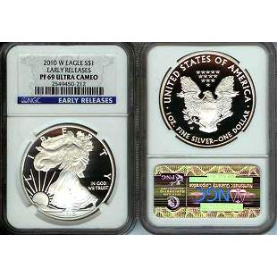 2010-W Proof Silver Eagle Early Release PF69 NGC