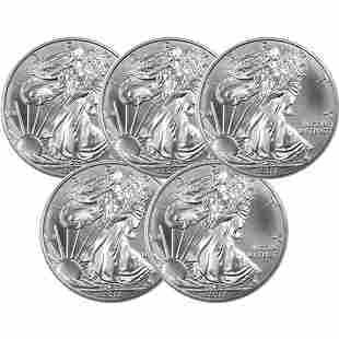 (5) Silver American Eagles - Brilliant Uncirculated