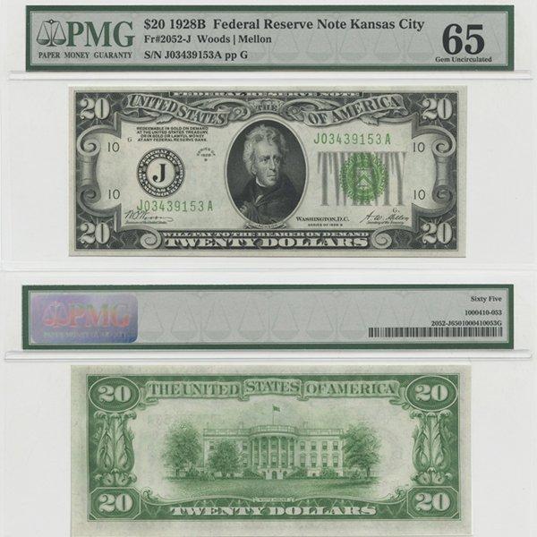 1928-B $20 Federal Reserve Note Gem UNC 66 PMG
