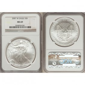 2007-W 1 Oz Burnished Silver Eagle MS69 NGC
