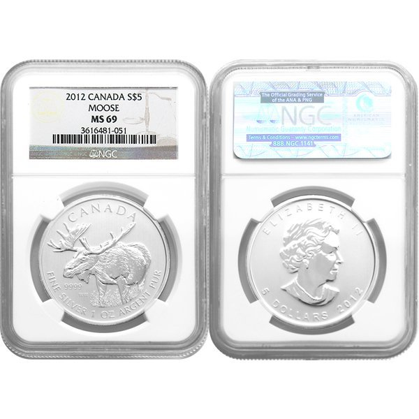 2012 1 Oz Canadian Silver Moose MS69 NGC