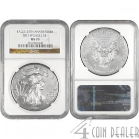 2011-W Silver American Eagle 25th Ann MS70 NGC