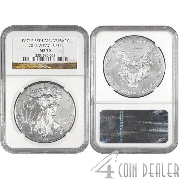 2011-W Silver American Eagle 25th Ann MS70 NGC