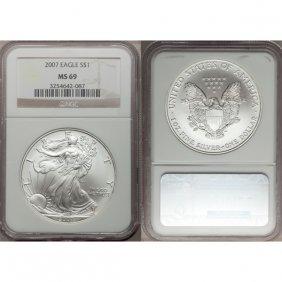 2007 1 Oz Silver American Eagle MS69 NGC