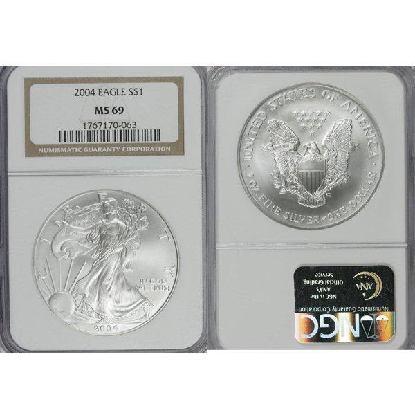 2004 1 Oz Silver American Eagle MS69 NGC