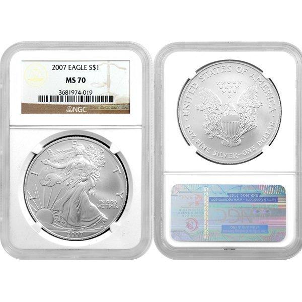 2007 1 Oz Silver American Eagle MS70 NGC
