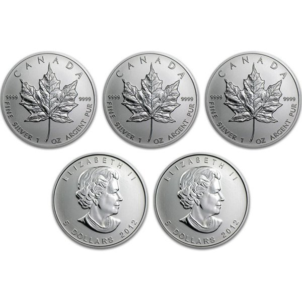 (5) 2012 Silver Maple Leafs - Brilliant Uncirculated