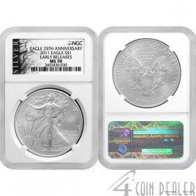 2011 1 Oz Silver Eagle 25th Ann ER MS70 NGC