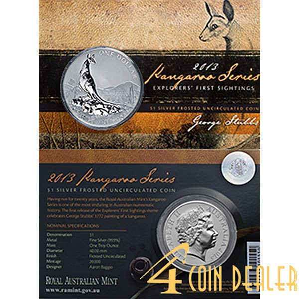 2013 1 Oz Silver Kangaroo - In Display Card